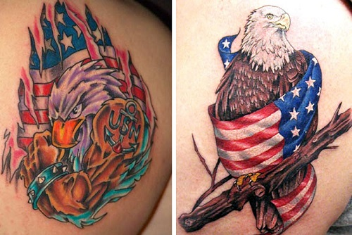 Hình xăm chim đại bàng cờ Mỹ