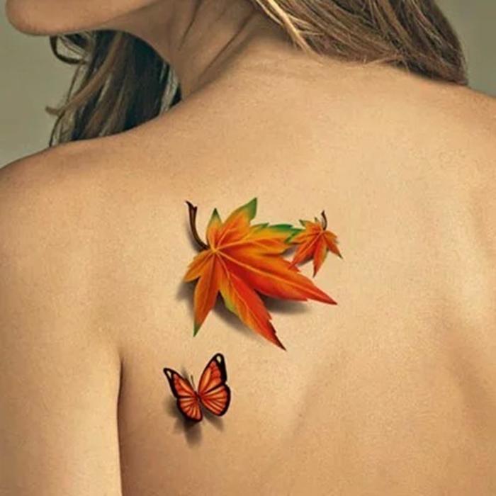 hình xăm 3d con bướm và chiếc lá