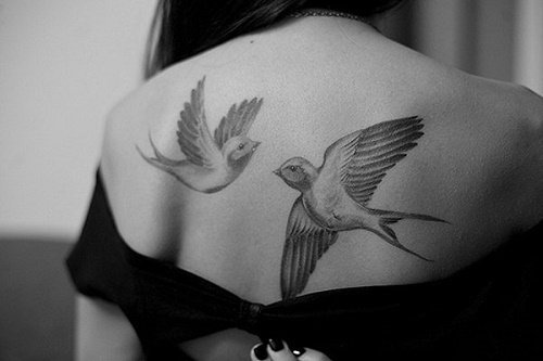 hình xăm đôi chim uyên ương ở lưng hài hòa