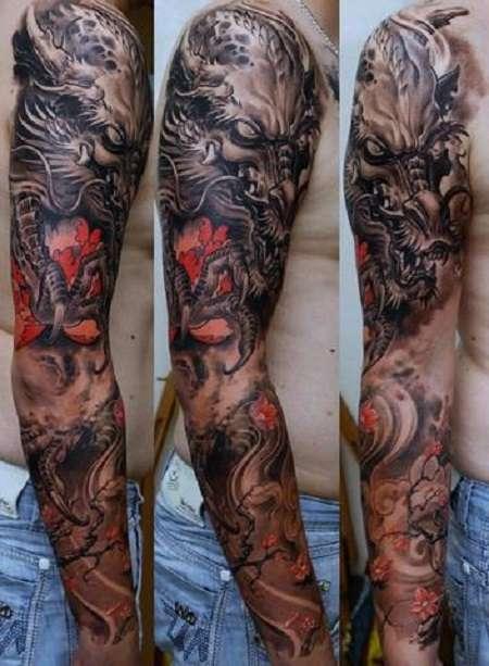 xình xăm rồng ở cánh tay 4