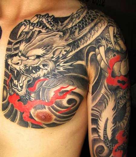 hình xăm rồng ở ngực 5